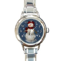 Ladies Round Italian Charm Bracelet Watch Let It Snow Snowman Gift 30159516 - $11.99