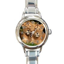 Ladies Round Italian Charm Bracelet Watch Lion Cubs Animals Gift model 1... - $11.99