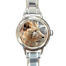 Ladies Round Italian Charm Bracelet Watch Lion Head Animal Gift model 34... - $11.99