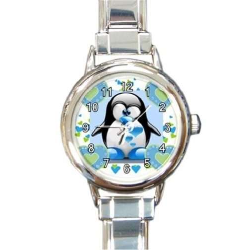 Primary image for Ladies Round Italian Charm Bracelet Watch Lovely Penguin Heart Love 30160881