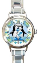 Ladies Round Italian Charm Bracelet Watch Lovely Penguin Heart Love 3016... - £9.62 GBP