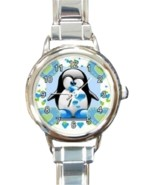 Ladies Round Italian Charm Bracelet Watch Lovely Penguin Heart Love 3016... - $15.91 CAD