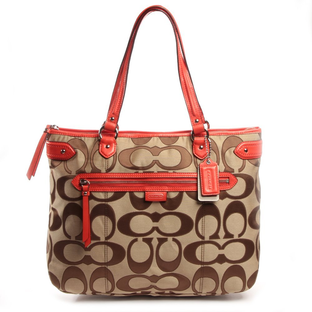 Primary image for Coach 24066 Daisy Outline Signature Emma Tote - Khaki & Vermillion