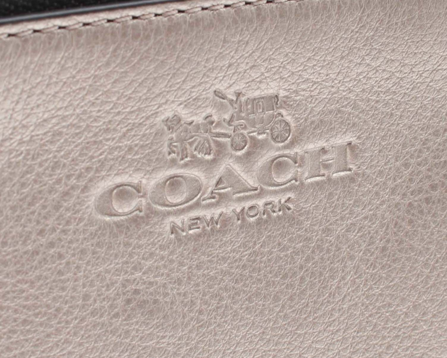 Coach Pebbled Metallic Leather Double Zip Wallet Clutch F53561