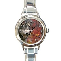 Ladies Round Italian Charm Bracelet Watch Majestic Gray Wolf Wild Animal... - $11.99