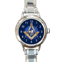 Ladies Round Italian Charm Bracelet Watch Mason Freemason Masonic Blue 3... - $11.99