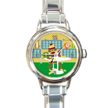 Ladies Round Italian Charm Bracelet Watch Modern Sock Monkey Retro Style... - $11.99