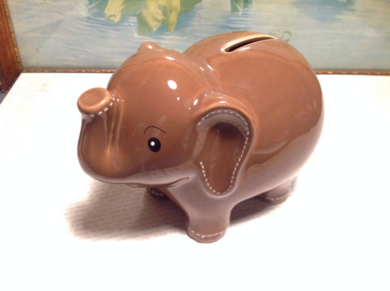 NEW Chocolate Brown Ceramic Elephant Piggy Bank