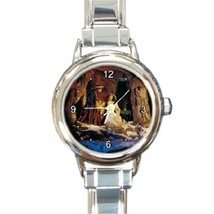 Ladies Round Italian Charm Bracelet Watch Nativity Scene Gift model 1456... - $11.99