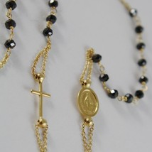 18K YELLOW GOLD ROSARY NECKLACE MIRACULOUS MEDAL & CROSS BLACK SPINEL ITALY MADE image 3
