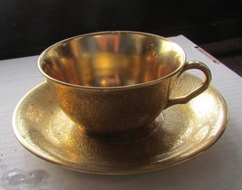 PICKARD 693 GOLD COLORED CUP AND SAUCER - $75.00