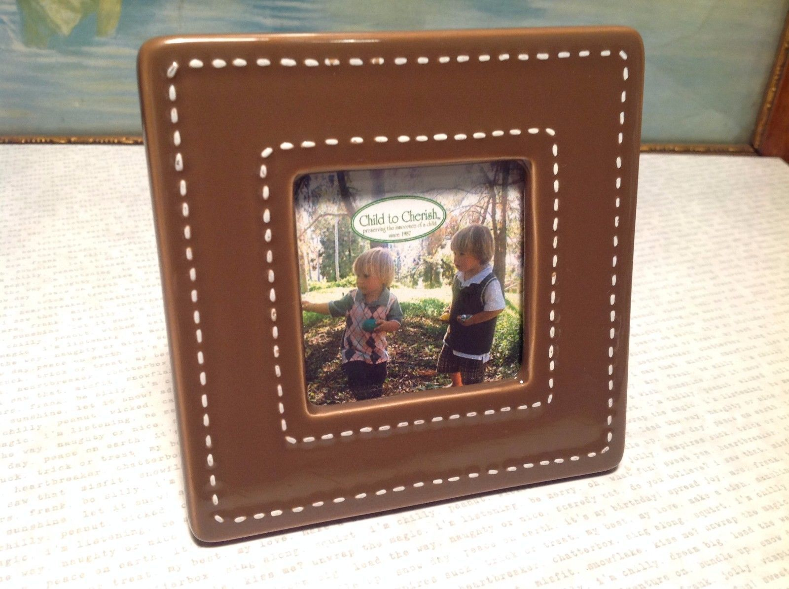 Small Ceramic Chocolate Brown Photo Frame