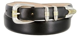 Manila Genuine Italian Leather Designer Dress Golf Belt(Smooth BLK,54) - $27.71
