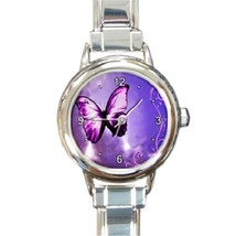 Ladies Round Italian Charm Bracelet Watch Purple Butterfly Fly Gift 2602... - $11.99