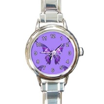 Ladies Round Italian Charm Bracelet Watch Purple Butterfly Fly Insect 26... - $11.99