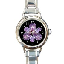 Ladies Round Italian Charm Bracelet Watch Purple Tiger Iris Flower Gift ... - $11.99