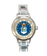 Ladies Round Italian Charm Bracelet Watch US Air Force Gift model 14599514 - $11.99