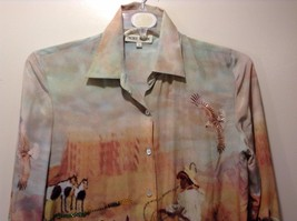 Western Style Collared Button Up Silk Blouse Sz S image 2
