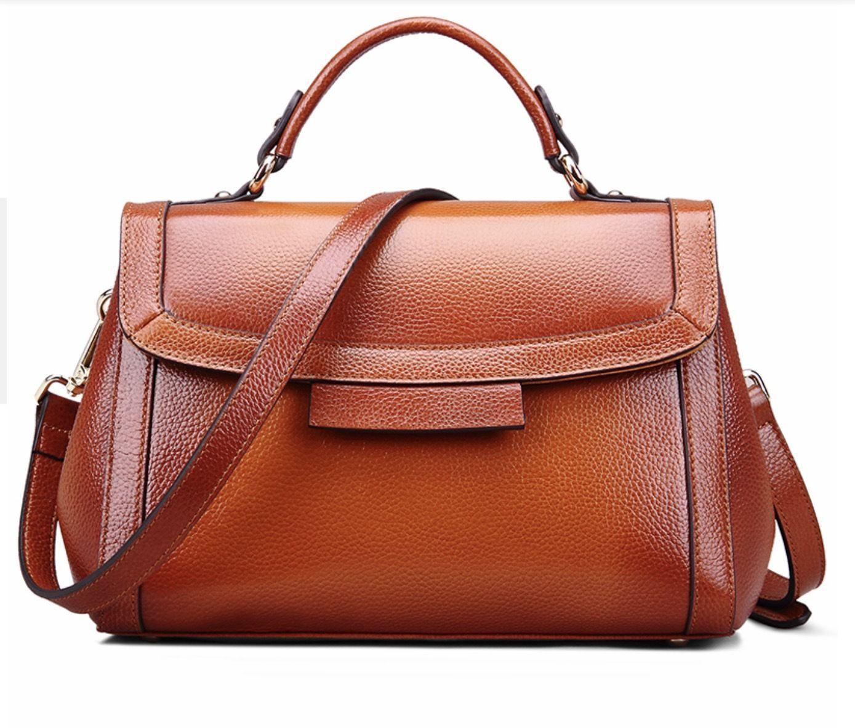 New Pebbled Italian Leather Top Handle Brown Handbag Satchel Shoulder Bag