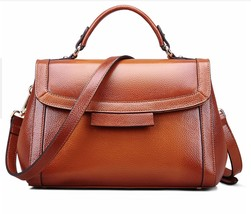 New Pebbled Italian Leather Top Handle Brown Handbag Satchel Shoulder Bag - $149.95