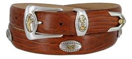Bellerive Men's Italian Calfskin Designer Dress Belt with Golf Conchos (Lizar... - $39.55