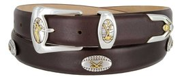 Bellerive Men's Italian Calfskin Designer Dress Belt with Golf Conchos (Smoot... - $39.55