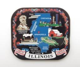Illinois State Landmarks Brass Magnet Travel Souvenir Gift  - $11.95