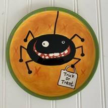"""Dept 56 Halloween Spider Plate 7"""" Appetizer Bread Dessert Orange Black Spider  - $10.77"""