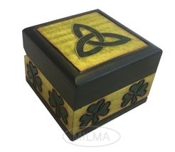 Celtic Shamrock Box Polish Handmade Linden Wood Keepsake Jewelry Cufflink Ring B - $18.80