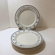 """4 Dinner Plates Homer Laughlin L L Bean 10.25"""" White Blue Fishhing Lures - $38.69"""
