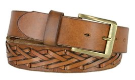 386002-P4612 Hand Laced Full Grain Leather Belt w/ Antique Brass Buckle 1-1/2... - $29.65