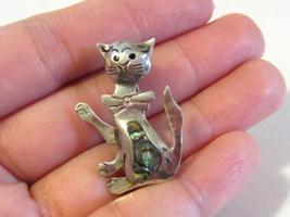 Vintage Taxco Sterling silver Inlaid Abalone Cat pin/brooch - $15.00