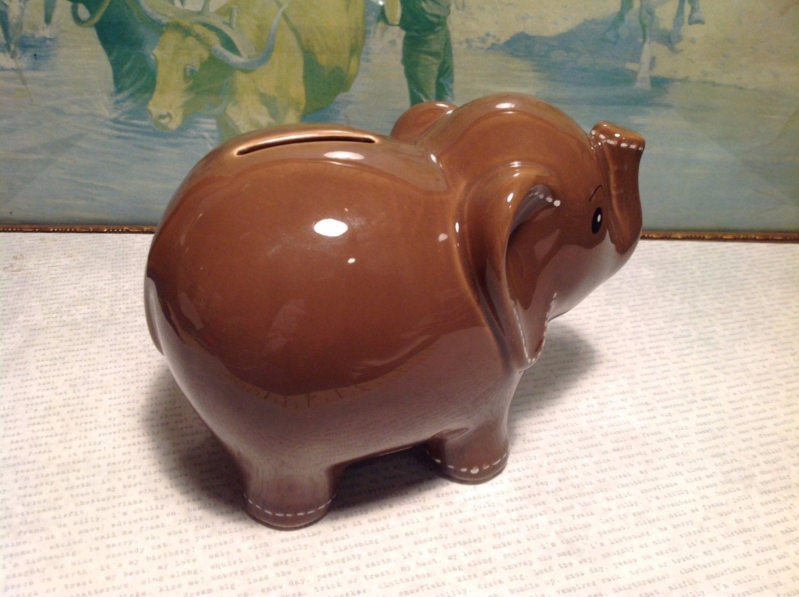 New chocolate brown ceramic elephant piggy bank - Ceramic elephant piggy bank ...