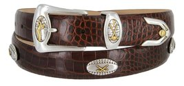 Bellerive Men's Italian Calfskin Designer Dress Belt with Golf Conchos (Allig... - $39.55