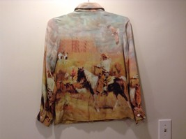 Western Style Collared Button Up Silk Blouse Sz S image 3