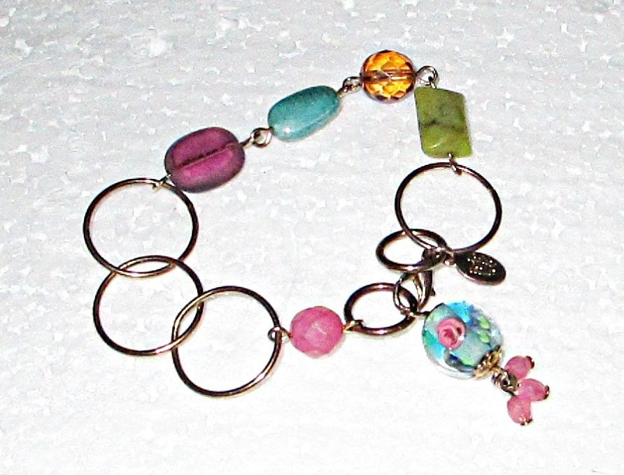 Cookie Lee Glass & Acrylic Bead on Brass Chain Bracelet 7 Inches Long