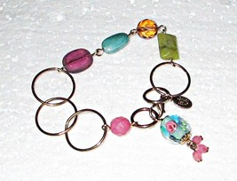 Cookie Lee Glass & Acrylic Bead on Brass Chain Bracelet 7 Inches Long  - $4.00