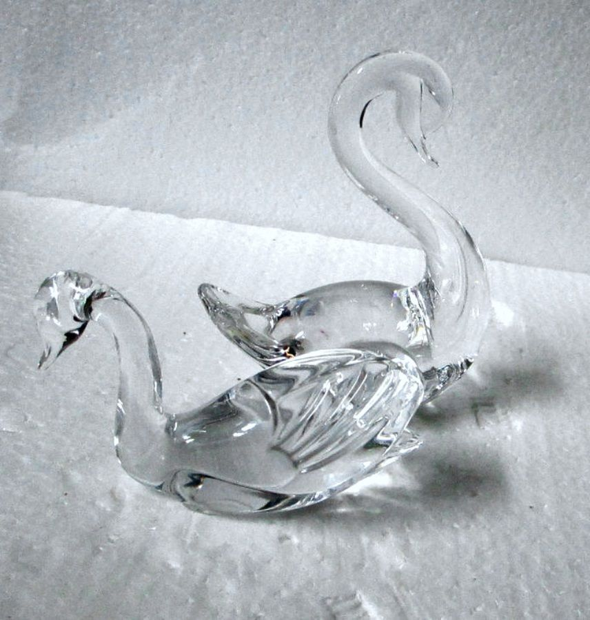 Primary image for Two Small Crystal Glass Swans Lenox & Other