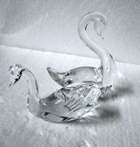 Two Small Crystal Glass Swans Lenox & Other  - $9.95