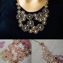 USA Western Style Multilayer Pendants Rhinestone Gold Hollow Flowers Nec... - $12.86