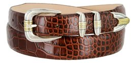 Manila Genuine Italian Leather Designer Dress Golf Belt(Alligator BRN,50) - $27.71