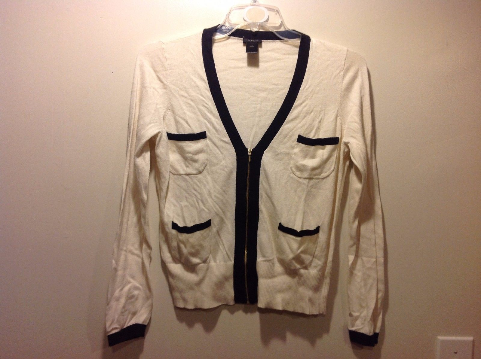 Ladies Cream White Black Zip Up Cardigan by Ann Taylor Sz Large