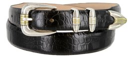 Manila Genuine Italian Leather Designer Dress Golf Belt(Alligator BLK,50) - $27.71