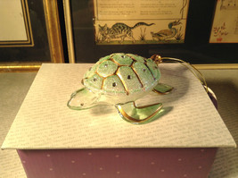 Glass Sea Turtle Ornament by Holiday Tree with Gold Tone Accents Decoration - $39.99