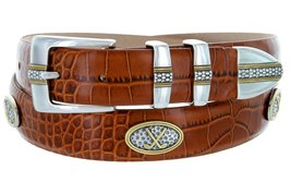 Towne - Men's Italian Calfskin Embossed Designer Dress Belt with Golf Conchos... - $39.55