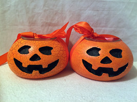 Halloween Pumpkin Candle Holders Tea Light New Set of 2 Ceramic Jack O L... - €9,12 EUR