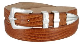 "Art Deco Italian Calfskin Leather Men's Designer Dress Golf Belt 1-1/8"" to 1""... - $29.20"