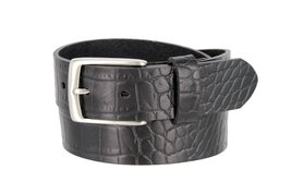 "MZ Crocodile Embossed Pattern 1-3/8"" (35mm) Wide Leather Belt for Men (Black,... - $16.78"