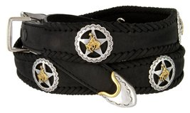 Western Texas Ranger Braided Leather Belt Star Rodeo Cowboy Conchos (Black, 58) - $52.42