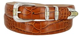 Manila Genuine Italian Leather Designer Dress Golf Belt(Alligator TAN,50) - $27.71